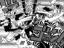 Jinbe and Luffy Hit Sanji
