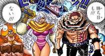 The Big Mom Pirates confronts the Straw Hat and Fire Tank Alliance