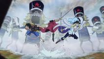 Cavendish, Kyros et Luffy au combat Anime