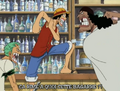 Luffy et Barbe noire se disputent Anime