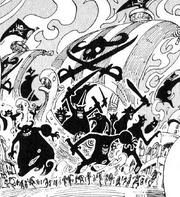 Los Piratas Gigantes Guerreros atemorizando a la gente