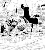 Korotsuru jetant Ace à l'eau avec d'autres personnes
