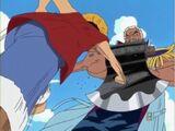 Monkey D. Luffy i Roronoa Zoro kontra Morgan, Helmeppo i Marynarka