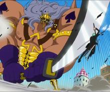 Зоро останавливает атаку мечом Пики