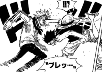 Luffy Defeats Coby at Marineford