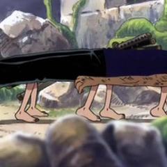 Robin crea dei piedi con cui spostare Zoro privo di sensi