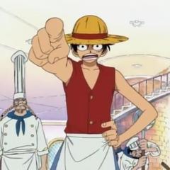 Baratie'de kısa süreliğine garsonluk yapan Luffy.