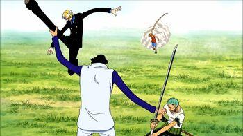 Monkey D. Luffy, Roronoa Zoro y Sanji vs. Kuzan