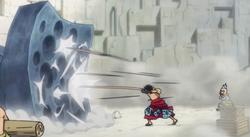 Hyogoro supervisa el entrenamiento de Luffy