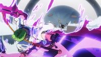 Roronoa Zoro Strikes Kamazo With Rengoku Oni Giri