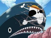 Luffys Pinselei auf La Boums Stirn