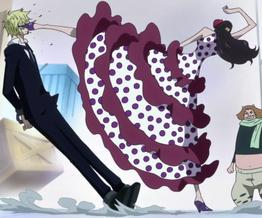 Violet pegando a Sanji