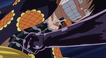 Bellamy qui attaque luffy avec le haki anime