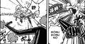 Luffy utilisant Geppou aves son bras.