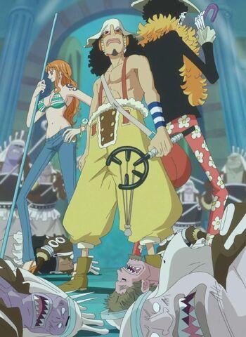 Roronoa Zoro, Nami, Usopp y Brook vs. Ejército Neptuno