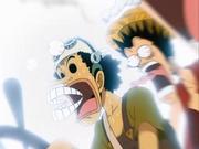 Usopp y Luffy asustados