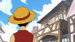 Luffy encontrándose con Nami
