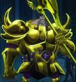 Dice con armadura de oro
