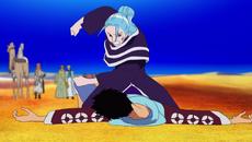 Vivi golpea a Luffy
