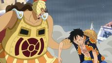 Gatz ayuda a Luffy