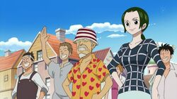 Makino and Mayor at Luffy's Departure