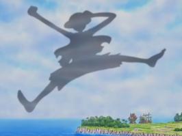 La sombra de Luffy proyectada en el cielo