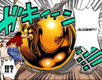 Golden ball welded into hand Luffy