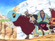 Camus golpea a Luffy