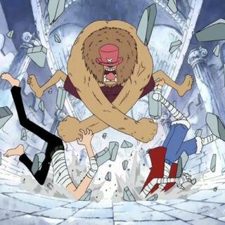 Chopper verpasst Sanji und Luffy eine Kopfnuss.