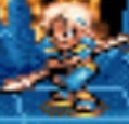 Saphir holding a spear