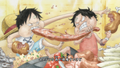 One day Luffy et Ace mangent
