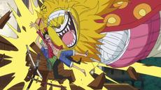 Nekomamushi abraza a Luffy y Zoro