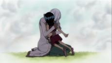 Robin y Olvia se abrazan