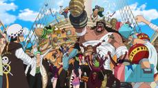 La Gran Flota de Sombrero de Paja celebrando