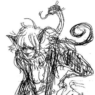 Marguerite als Katzenfrau (Konzeptzeichnung)