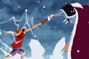 Musshuru peleando contra Luffy