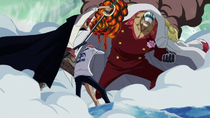 Shanks Saves Koby From Akainu