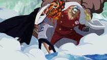 Shanks Saves Koby From Akainu