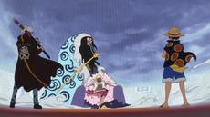 Luffy y Law llegando a donde esta Doflamingo