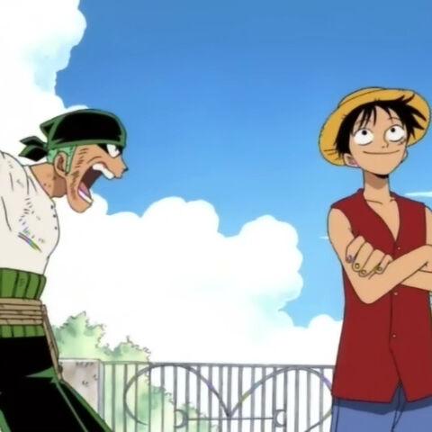 Zoro lernt Luffy und seinen Sturschädel kennen.