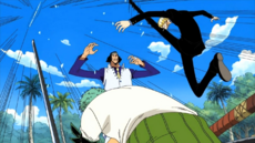 Zoro y Sanji desarman a Kuzan