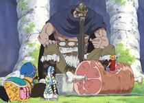 Luffy, Vivi, dan Karoo Bersantap bersama Dorry