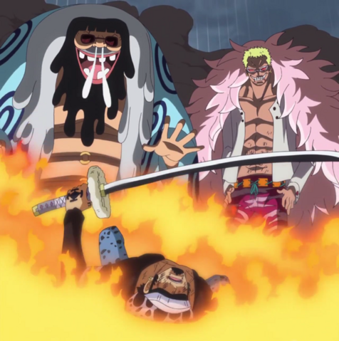 File:Law Defeated By Doflamingo and Trebol.png