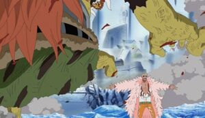 Doflamingo cortando el pie a Oars