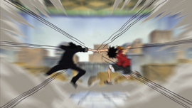 Luffy and Lucci Clash
