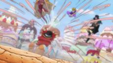 Luffy ataca a los Piratas de Big Mom