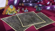 Brook muestra las copias de los poneglyphs