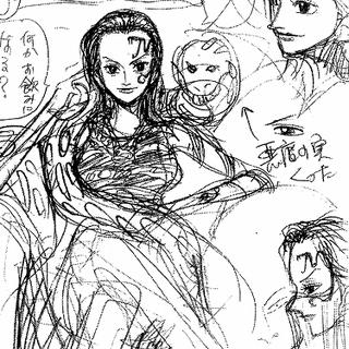 ältere Hancock mit größerer Boa und Schlangentatto auf der linken Gesichtshälfte sitzend (Konzeptzeichnung)