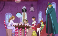El equipo de recuperación de Sanji en la casa de Purin