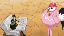 Niwatori assists Mont-d'Or in coordinating the pursuit of the Straw Hats.